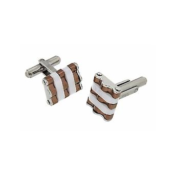 MANUEL ZED Brown White Cufflinks