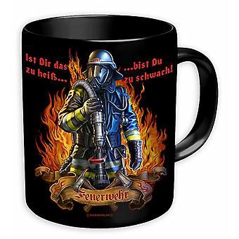 Copa del cuerpo de bomberos -Es esto demasiado caliente para usted....- negro, impreso, hecho de cerámica, zócalo÷gen aprox. 320 ml., en caja de regalo.