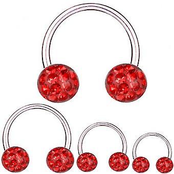 Barbell circolare Horseshoe titanio 1.2 mm, Multi sfera di cristallo rosso | 6 - 12 mm
