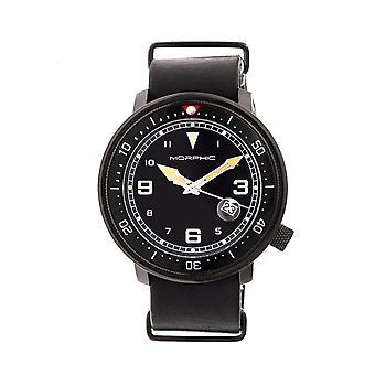 Morphic M58 Series Nato Leather-Band Watch w/ Date - Black