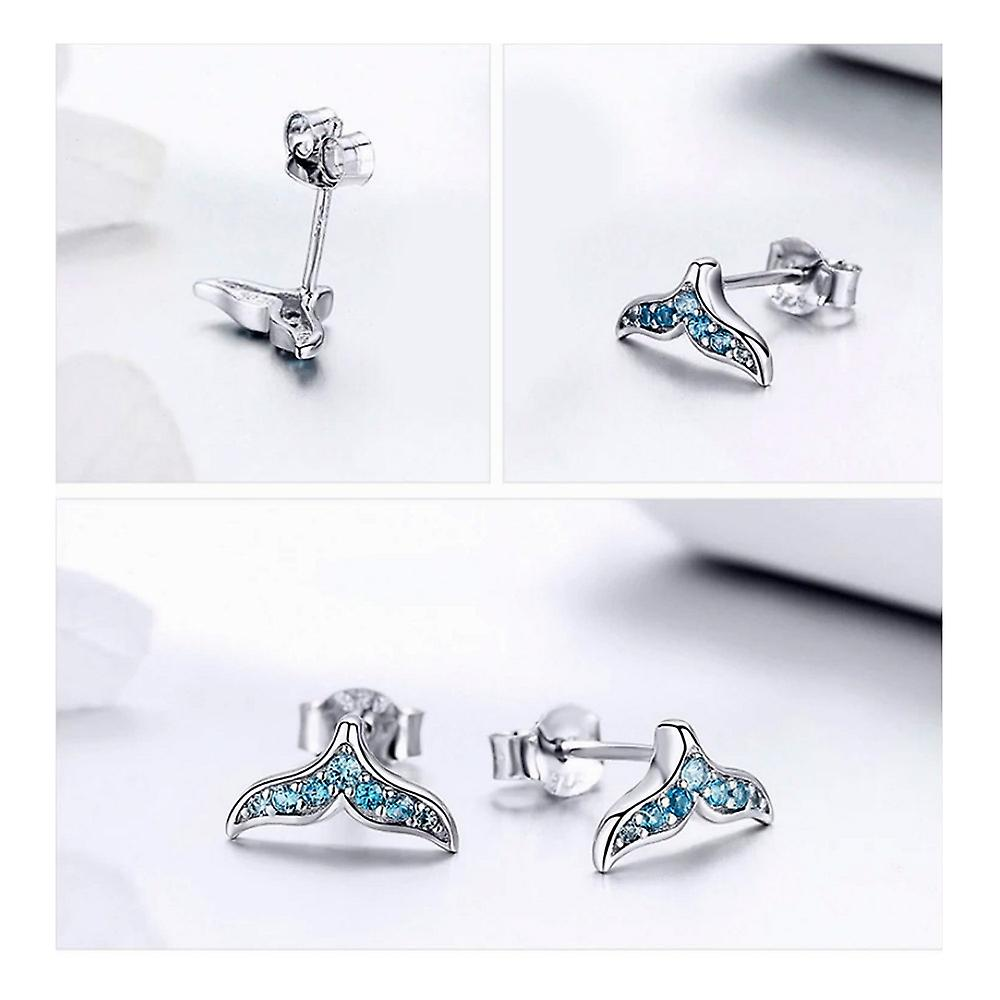Women's Whale Tail Earrings adorned with Blue and Silver Swarovski Crystal 925 8116