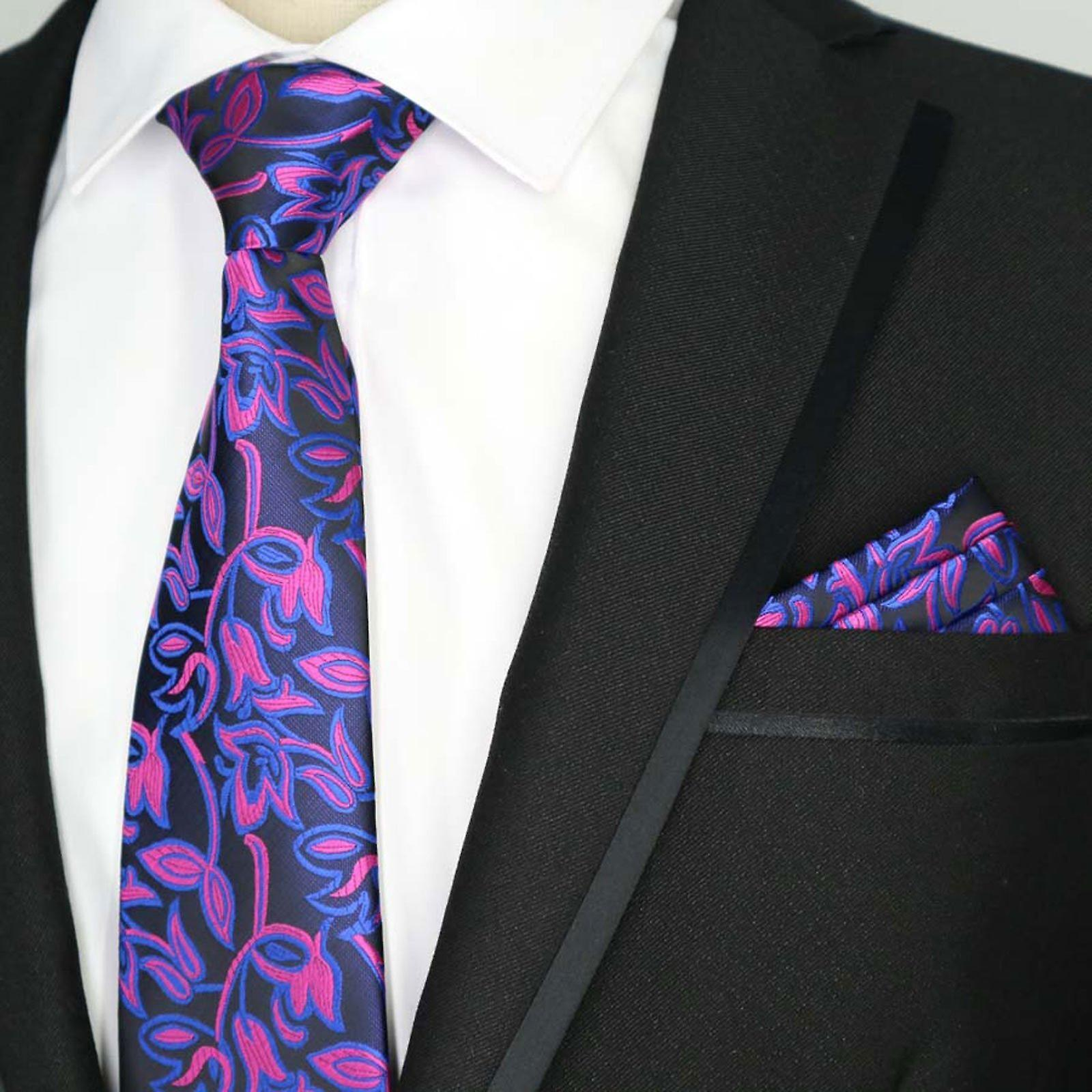 Bright pink & blue floral pocket square & necktie set