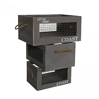 Meubles Rebecca 3 Pz Containers Box Grey Wood Back Order 19x40x29