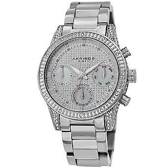 Akribos XXV AK1038SS dames calendrier date diamant Crystal Silver-Tone bracelet montre