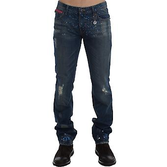 Blue wash paint slim fit pants jeans