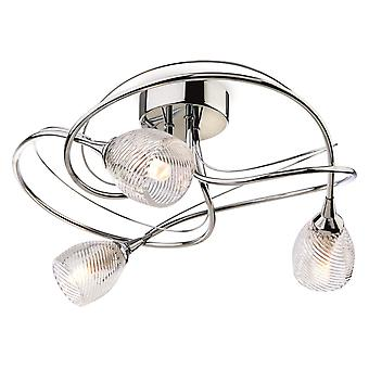Firstlight - 3 Light Flush Light Chrome, Clear Decorative Glass - 7642CH
