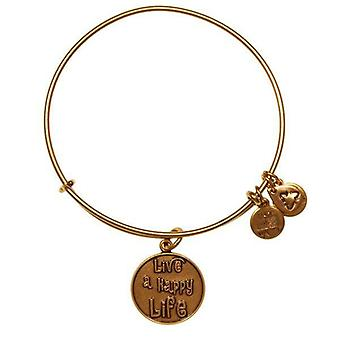 Alex and Ani Live a Happy Life Gold Bangle A12EB33RG