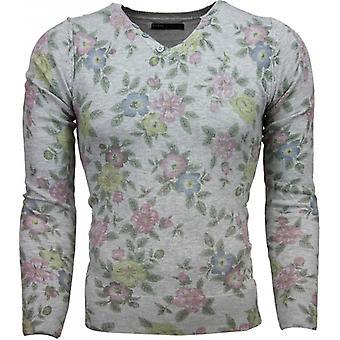 Casual Sweater - Floral Motif Print - Light Grey