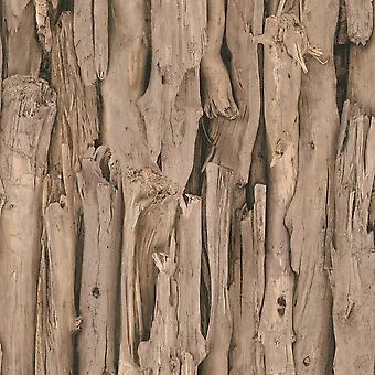 Rasch boom bark patroon realistische faux effect fotografische muurschildering behang 473216