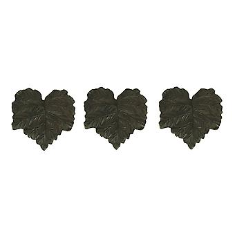 Rustic Brown Cast Iron Leaf Shaped Stepping Stones Set of 3