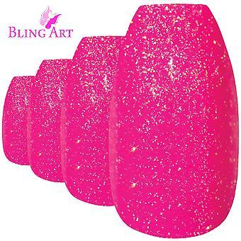Tipsów przez bling sztuki różowy żel baleriny trumny 24 fałszywe długie akrylowe porady