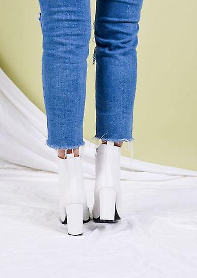 Enkel laarzen met puntige neus en hak in imitatieleer wit ZNsr9F