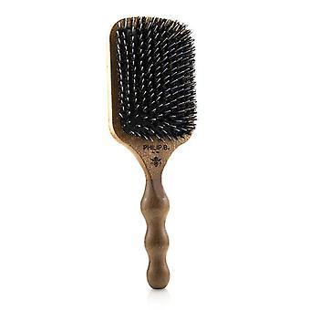 Philip B Paddle Hair Brush (polished Mahogany Laser Printed Handle Boar + Crystal Nylon Bristles) - 1pc