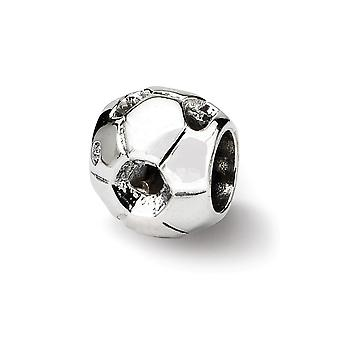 925 Sterling Silver Polished Reflections SimStars Soccer Ball Bead Charm Pingente Colar Joias De Joias para Mulheres