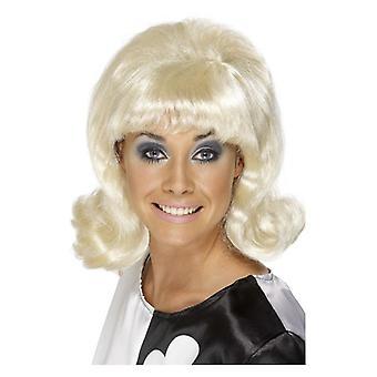 Womens 60s Flick-Up peruk blond maskeraddräkter tillbehör