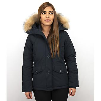Short Winter coat - With Fur Collar - Blue