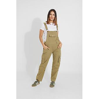 Daisy womens cotton dungarees - olive