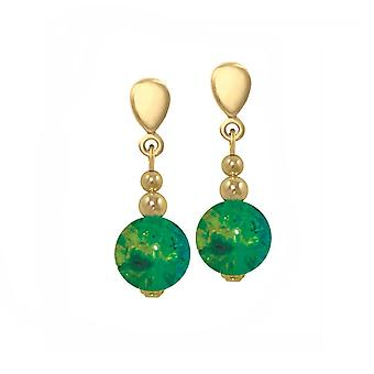 Eternal Collection Dominica Green And Yellow Crackle Bead Gold Tone Drop Clip On Earrings