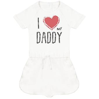 I Love My Daddy Red Heart Baby Playsuit