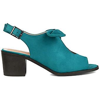 Brinley Co. Womens Bow Accent Peep Toe Sandal Teal, 8.5 Regular US