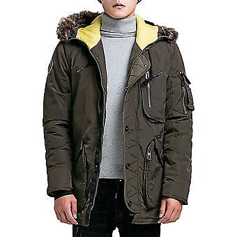 Allthemen Men's Płaszcz zimowy zagęścić ciepłą wyściełaną kurtkę z kapturem