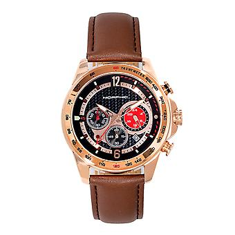 Morphic M88 Series Chronograph Leather-Band Watch w/Date - Brown/Rose Gold