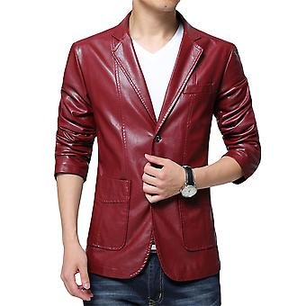 Allthemen Men's PU Blazer Solid Lapel Slim Fit Lederjacke