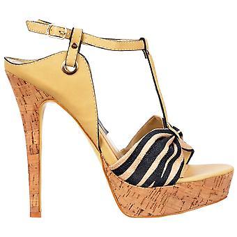 Onlineshoe T Bar Cork Platform Stiletto Sandal - Fabric Toe Detail - Beige