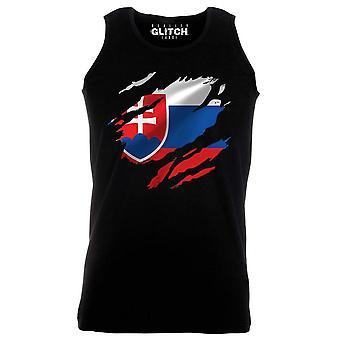 Reality glitch torn slovakia flag mens vest