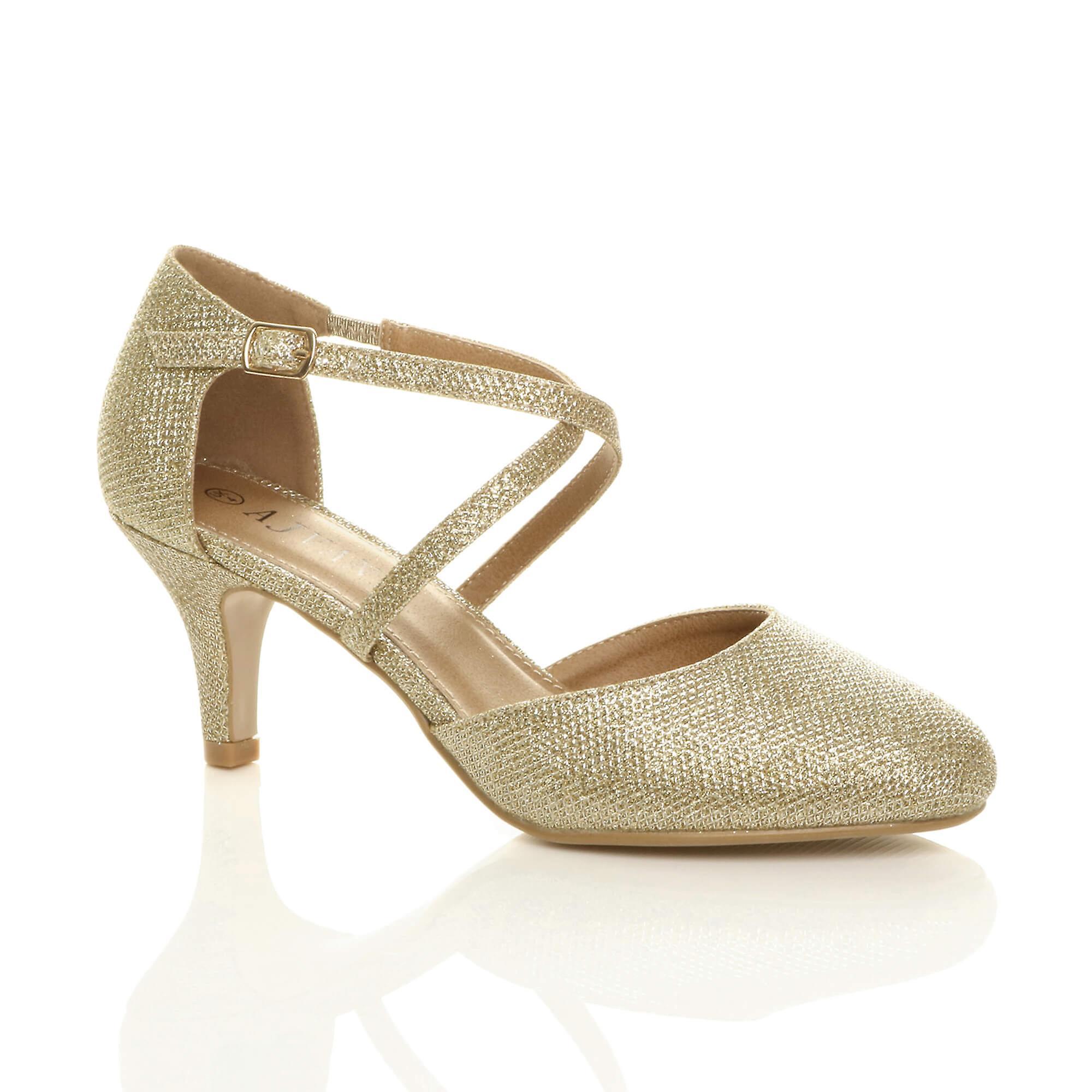 Ajvani kobiety połowie wysokiego obcasa strappy crossover ślub ślub sandały buty jBZOL