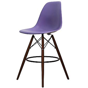 Charles Eames Stil lila Kunststoff Bar Hocker - Walnuss Beine