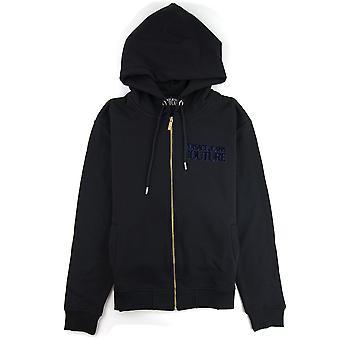 Versace jeans Couture flockade logo zip upp hoodie svart