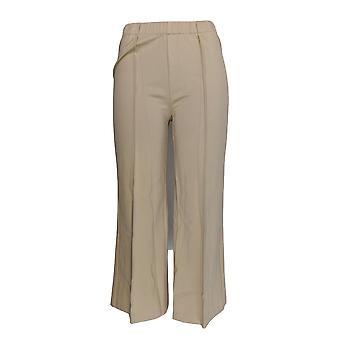H di Halston Women's Pantaloni Ponte Knit Wide Leg Pull-On Crop Beige A272372