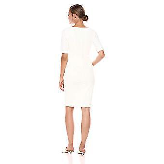 Calvin Klein Women's Solid Short Sleeve Sheath with Embellishment, Cream, 2