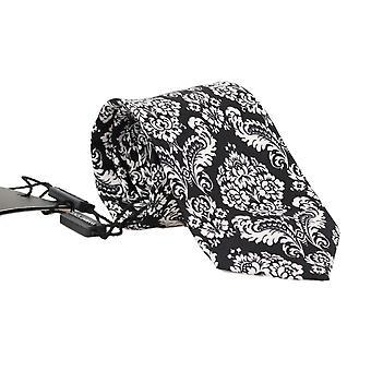 Dolce & Gabbana Black Silk White Floral Pattern Classic Tie