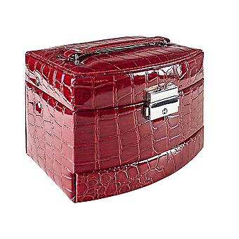 Crocodile patterned Jewelry box with 5 compartments - Red