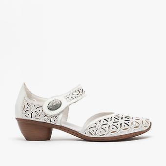 ريكر 43726-80 السيدات كتلة كعب أحذية الأبيض
