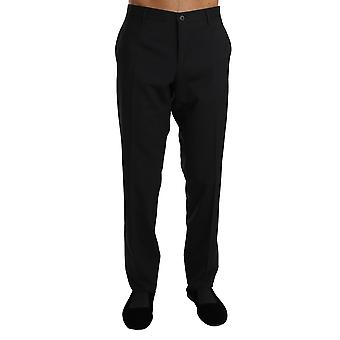 Dolce & Gabbana Black Wool Stretch Dress Formal Trousers