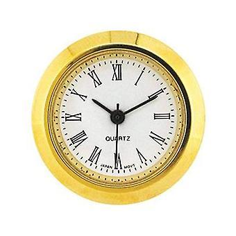 Clock movement quartz mini insertion head Ø25mm gold roman