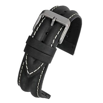 Calf leather watch strap black water resistant