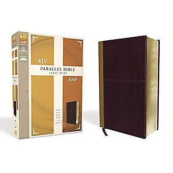 KJV, Amplified, Parallel Bible, Large Print, Leathersoft, Tan/Burgundy, Red Letter Edition: Two Bible Versions Together for� Study and Comparison