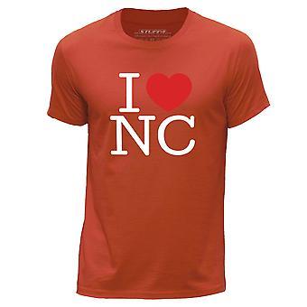 STUFF4 Men's Round Neck T-Shirt/I Heart NC / Love North Carolina/Orange