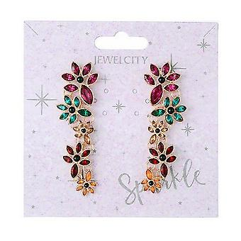 Sparkle Womens/Ladies Floral Dangly Earrings