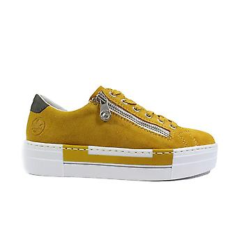 Rieker Enya N4921-68 Yellow Leather Womens Zip/Lace Up Casual Trainers