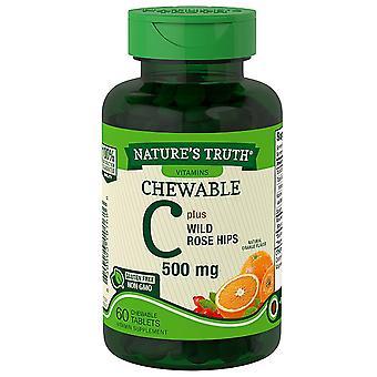 A verdade mastigada c, 500 mg, mais quadris de rosa silvestre, comprimidos, laranja, 60 ea