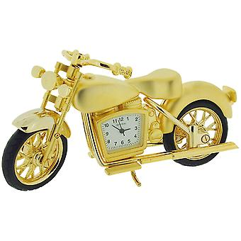 Miniature Motorbike Clock, Novelty Collectors Goldtone Desktop Clock IMP1066