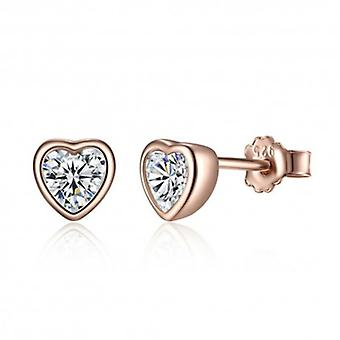 Silver Earrings Shiny Heart - 6502