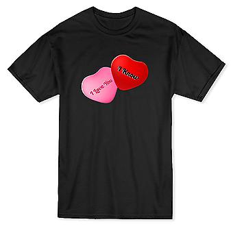 Roliga alla hjärtans dag jag älskar dig jag vet grafisk mäns T-shirt