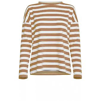 b.young Almond & White Striped Top