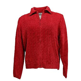 Alfred Dunner Women's Petite Zipper Front Long Sleeves Sweater True Red